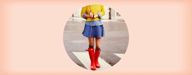 お洒落な長靴ハンターブーツ(赤)のコーディネート